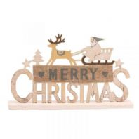 Wooden Santa Merry Christmas Sign